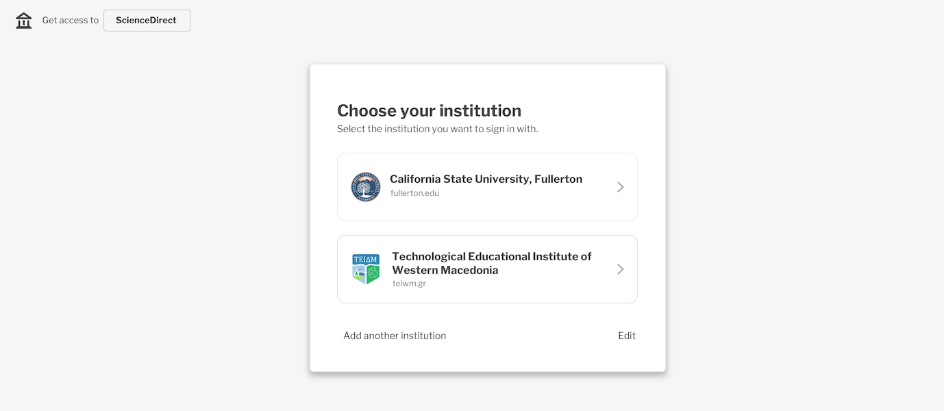 Select The Institution